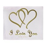 Entwined Gold Hearts Throw Blanket
