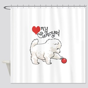 LOVE MY SAMOYED Shower Curtain