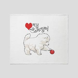 LOVE MY SAMOYED Throw Blanket