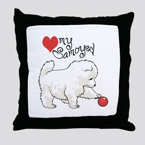 LOVE MY SAMOYED Throw Pillow