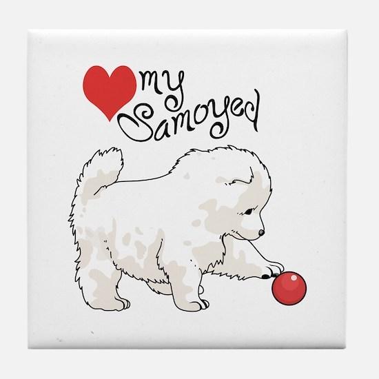 LOVE MY SAMOYED Tile Coaster