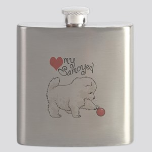 LOVE MY SAMOYED Flask