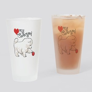 LOVE MY SAMOYED Drinking Glass