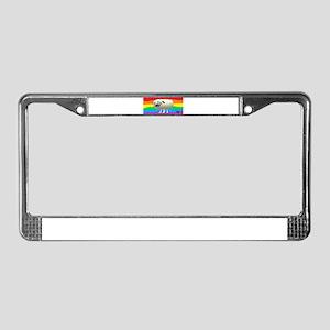 GAY RAINBOW PUG ART License Plate Frame