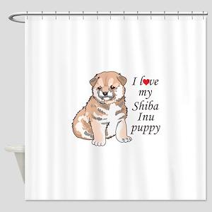 LOVE MY SHIBA INU Shower Curtain