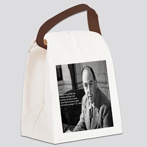 CS Lewis & Bravery Quote Canvas Lunch Bag