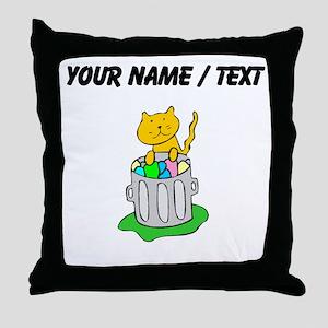 Custom Cat In Garbage Throw Pillow
