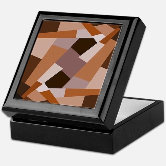 Brown Pattern, Geometric Shapes Keepsake Box