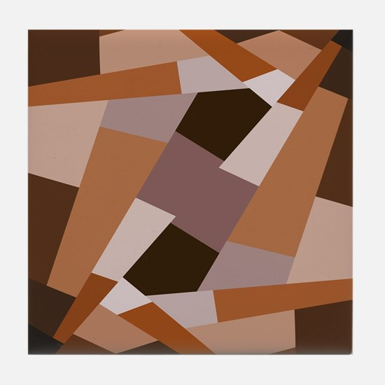 Brown Pattern, Geometric Shapes Tile Coaster