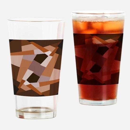 Brown Pattern, Geometric Shapes Drinking Glass