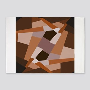 Brown Pattern, Geometric Shapes 5'x7'Area Rug