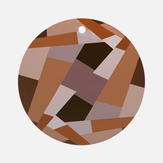 Brown Pattern, Geometric Shapes Ornament (Round)