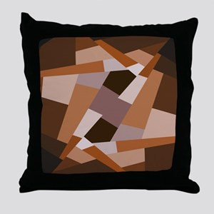 Brown Pattern, Geometric Shapes Throw Pillow