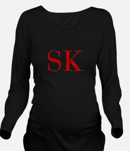 SK-bod red2 Long Sleeve Maternity T-Shirt