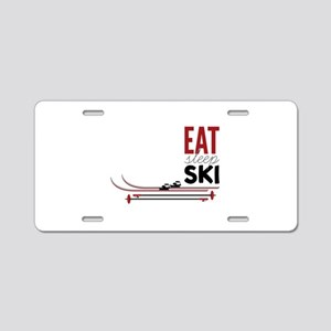 Eat Sleep Ski Aluminum License Plate