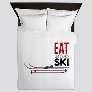 Eat Sleep Ski Queen Duvet