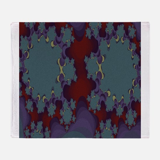 Deep Red and Teal Pattern with Purpl Throw Blanket