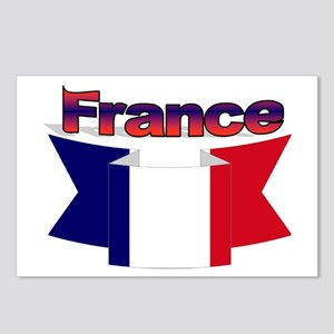 French flag ribbon Postcards (Package of 8)