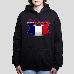 French flag ribbon Women's Hooded Sweatshirt