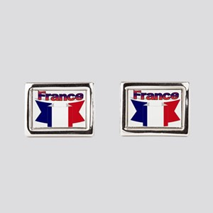 French flag ribbon Rectangular Cufflinks