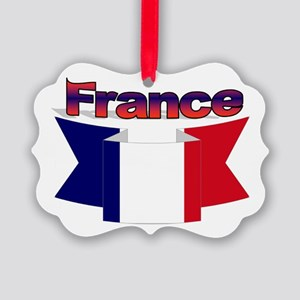 French flag ribbon Picture Ornament
