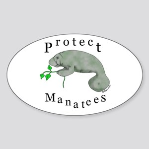 Protect Manatees Oval Sticker