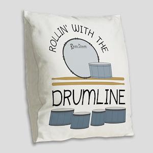 Rollin' With Drumline Burlap Throw Pillow