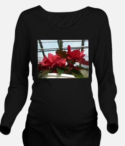 red flowers Long Sleeve Maternity T-Shirt