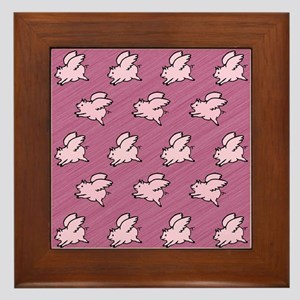 Cute Flying Pigs with Wings Framed Tile