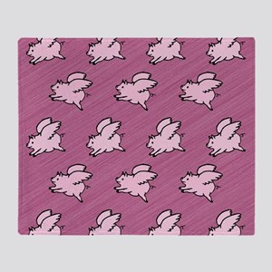 Cute Flying Pigs with Wings Throw Blanket