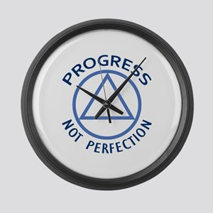 PROGRESS NOT PERFECTION Large Wall Clock
