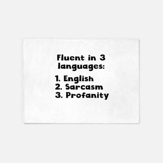 Fluent In 3 Languages 5'x7'Area Rug