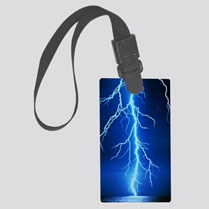 Blue Lightning Bolt Large Luggage Tag