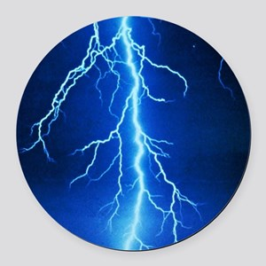 Blue Lightning Bolt Round Car Magnet