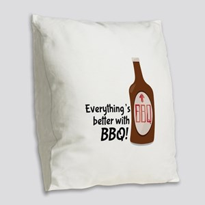 Better With BBQ! Burlap Throw Pillow