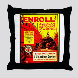 American Merchant Marine Throw Pillow