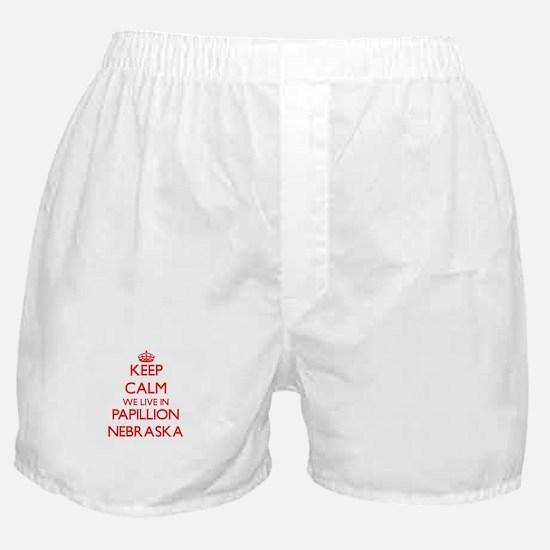 Keep calm we live in Papillion Nebras Boxer Shorts