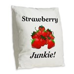 Strawberry Junkie Burlap Throw Pillow