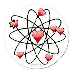 Atomic Valentine Round Car Magnet