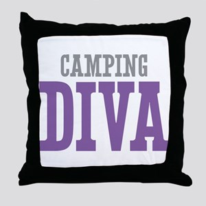 Camping DIVA Throw Pillow