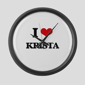 I Love Krista Large Wall Clock