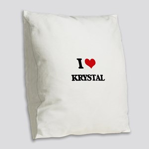 I Love Krystal Burlap Throw Pillow