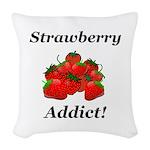 Strawberry Addict Woven Throw Pillow