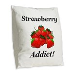 Strawberry Addict Burlap Throw Pillow