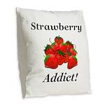 Strawberry Addict Burlap Throw Pillow
