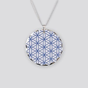 Flower of Life Lg Ptn Blu/W Necklace Circle Charm
