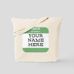 Custom Green Name Tag Tote Bag