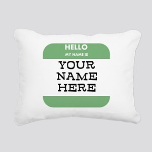 Custom Green Name Tag Rectangular Canvas Pillow