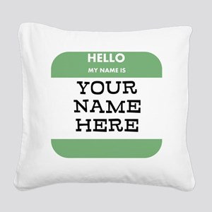 Custom Green Name Tag Square Canvas Pillow
