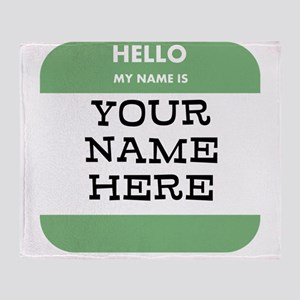 Custom Green Name Tag Throw Blanket
